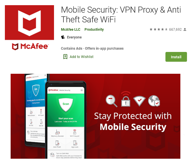 McAfee Mobile Security Antivirus for Android Phone and Tablets
