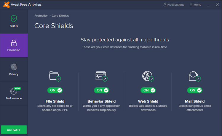 Avast Antivirus User Interface