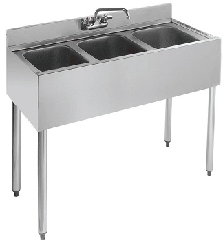 L and J Stainless Steel Three Compartment Under Bar Sink