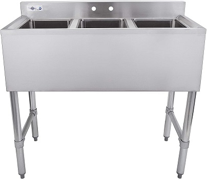 Profeeshaw 3 Compartment Sink Commercial Stainless Steel NSF Utility Basin